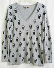 Philosophy Gray Skull V-Neck Knit Sweater size Medium