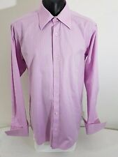 OXFORD Mens Pink Shirt Business Formal French Cuffs Size M %100 Cotton