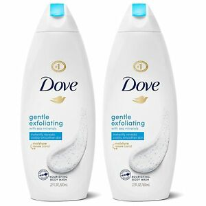 2 PACK DOVE BODY WASH INSTANTLY REVEALS VISIBLY SMOOTHER SKIN GENTLE EXFOLIATING