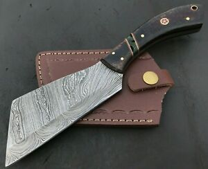 Handmade Damascus Steel Viking Axe-Camping-Outdoors-Leather Sheath-MD140
