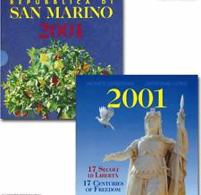NL* San Marino Serie Divisionale 2001 8 Valori con 1000 Lire Argento FDC set Zec