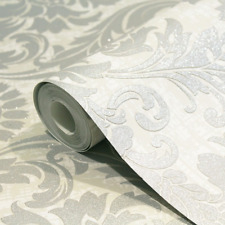 CROWN HIGHGROVE WHITE GLITTER DAMASK LUXURY FEATURE VINYL WALLPAPER M1202