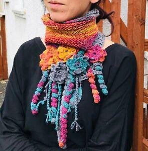 Alize hand crochet  rainbow colors collar-batik yarn boho flowered shawl