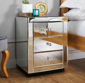 ITALIAN Mirrored Mirror Bedside Bed Side Table Cabinet 3 Draws Bedroom Cabinet