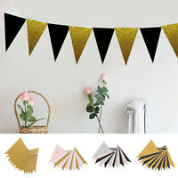 3M 15 Flags Paper Glitter Gold Bunting Banner Celebrating Party Hang Decoration