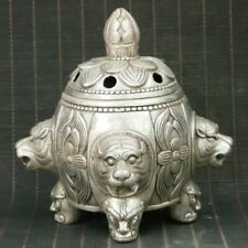 Chinese Exquisite Silver Copper Handmade  Incense Burners Statue 75748