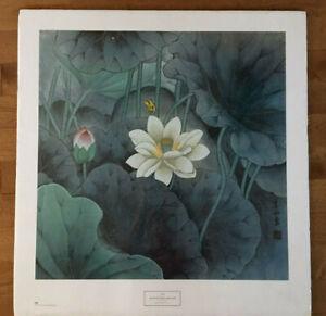 Li Shan Yellow Butterfly & Locust 28x30 Art  Print 1996 New York Graphic Society