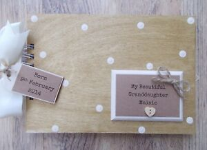 Personalised Grandaughter Grandchild Wooden Scrapbook Photo Album Guest Book