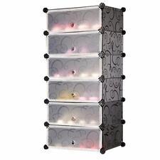 DIY 1 x 6 Cube Shoe Rack Wardrobe Box Storage Closet Organizer Cabinet with Door