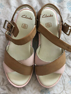 Clarks Girl's Pink And Brown Slingback Sandals Size UK 10 Infant