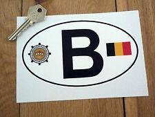 "B BELGIUM Automobile Club & Flag ID PLATE Car Sticker 6"" Van Nationality BELGIAN"