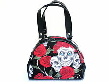 Day Of The Dead Skull Roses Muertos Rockabilly Bowling Clutch Hand Bag