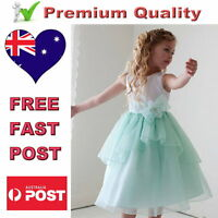 White & Mint Flower Girl Dress Satin & Organza Girls Party Dress Size 2 to 12
