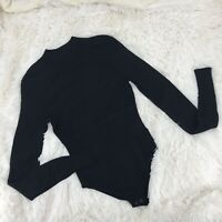 Diane von Furstenberg DVF Black Long Sleeve Mock Neck Knit Bodysuit Size Medium