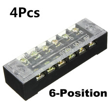 4Pcs Block 6 Position 600V 15A Wire Barrier Dual Row Screw Terminal Panel