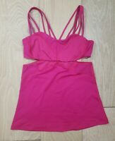 Hot Pink Lululemon 4 Tank Top Cutout Vented Mesh Built in Bra Strappy Yoga EUC
