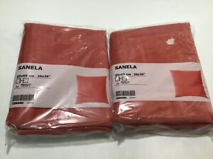 "IKEA SANELA  CUSHION COVER  COTTON VELVET 26 X 26"" LT BROWN-RED 2 COVERS"