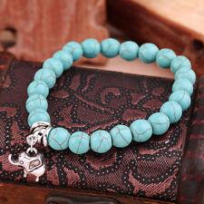 Vintage Retro Turquoise Bead Mixed Charm Bracelet Stretch Bangle Gift IB
