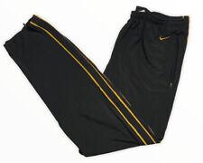 Nike Vintage Gray Tag Mens Sz M RARE Blk Gold Logo Track Pants Zip Pocket EUC