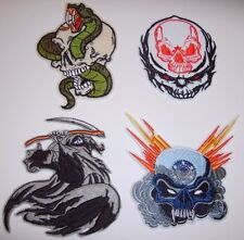 Hardcore Skull Biker Patch~Set of 4~Embroidered~Iron or Sew~FREE US Shipping