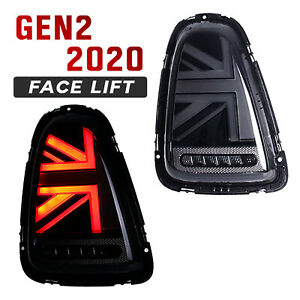 Mini Cooper R56 R57 R58 Union Jack Black Tail Lights John Cooper Works Gen 2
