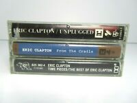 Lot 3 Eric Clapton Cassette Tapes Unplugged From the Cradle Time Pieces Best Of