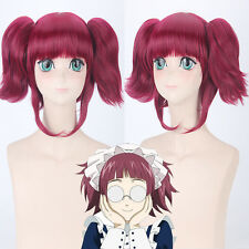 Kuroshitsuji Mey Rin Wine Red Ponytail Cosplay Anime party Wig heat resistant