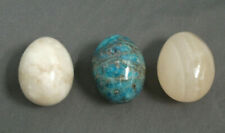 "3 Marble Eggs - Cream, Tanish and Teal Blue - 2 1/2"" Tall - All Heavy - b sb"