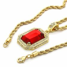 "Mens Hip Hop 14k Gold Plated Simulated Red Ruby Pendant w 24"" 4mm TCH Rope Chain"