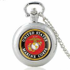 Antique US Marine Corps Badge Quartz Pocket Watch US Army Theme Necklace Chain