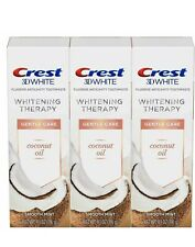 Lot (3)Crest 3D White Whitening Therapy Gentle Care Coconut Oil Toothpaste