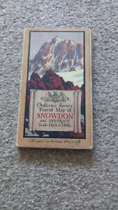 VINTAGE ORDNANCE SURVEY MAP ON CLOTH – TOURIST MAP OF SNOWDON  - 1925