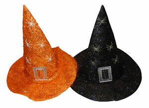 New Ladies Tinsel Witches Hat Women Halloween Party Fancy Dress Accessory Hat