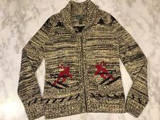 Ralph Lauren Active Sz M Black Red Ski Shawl Collar Zip Nordic Cardigan Sweater