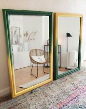 Two Rectangular Mirrors Real Bamboo Hollywood Regency  Palm Beach Mid-century