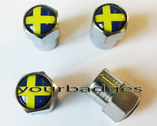 Chrome Metal Sweden Swedish Flag Car Valve Caps Tyre Dust Caps Saab Volvo