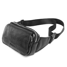 New Black Leather Fanny Packs Fashion Waist Bum Bag Travel Work Bag