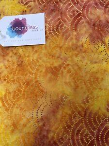 Boundless Fabric Batiks Swirl Dot Orange Yellow 4 Yards New