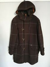 Ted Baker London Mens Wool Duffle Coat Jacket Choco Brown Checked Hooded L/XL/4