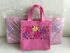 """Lot of (3) Avon Spring Floral Felt Bags / Pink with Flowers / 8"""" x 8"""" x 3"""" / New"""