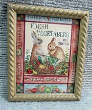 Bunny Rabbits Fresh Vegetables Home Grown 8x10 Print Wood Framed w Glass Free Sh
