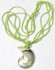 collier bijou coquillage nacre imposant petites perles verte 4 rangs * 5265