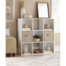 9-Cube White Finish Storage Organizer Home Living Room Display Organizer Unit