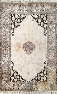 100% SILK Vintage Floral Kashmir Oriental Area Rug Hand-knotted Carpet 3x5 ft.