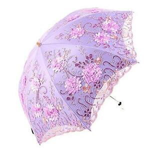 Honeystore Vintage Lace UV Sun Parasol Folding 3D Flower Embroidery Umbrella