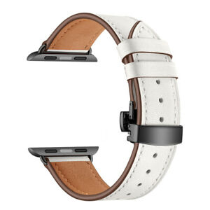40/44mm Luxury Genuine Leather iWatch Band Strap for Apple Watch Series 6 5 4 3