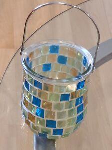 Multicolor Mosaic Jar/Lantern With Metal Handle BEAUTIFUL
