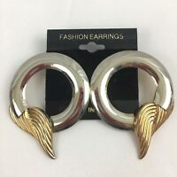 Vintage Big Funky Circle Wing Earrings Large Statement Two Tone NOS 1980s 1990s