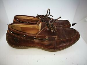 Timberland brown leather casual deck shoes  size 10.5