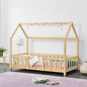B-WARE Kinderbett mit Rausfallschutz 70x140cm Haus Holz Natur Bettenhaus Bett